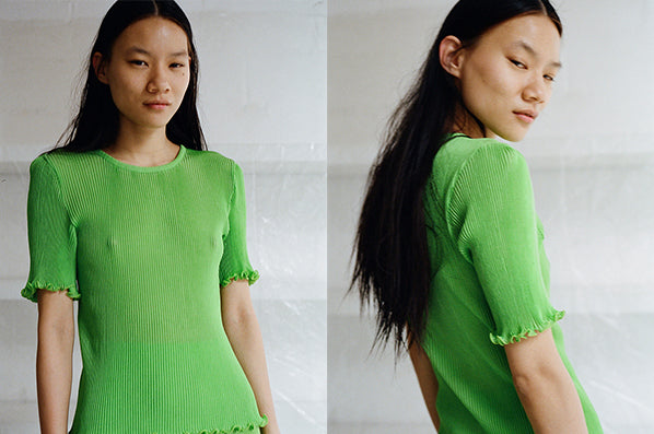 SHORT SLEEVE PLEATED TOP, GREEN APPLE
