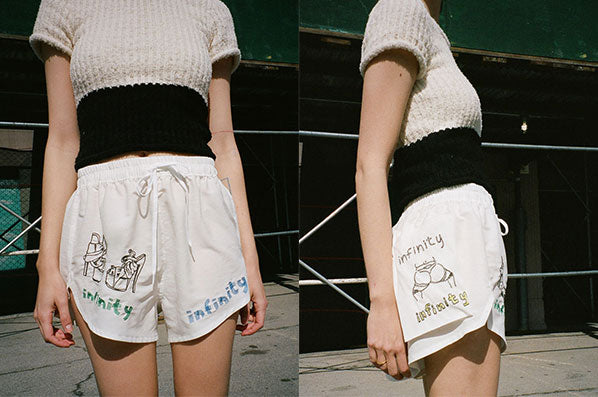 SHORTS WITH EMBROIDERY, WHITE