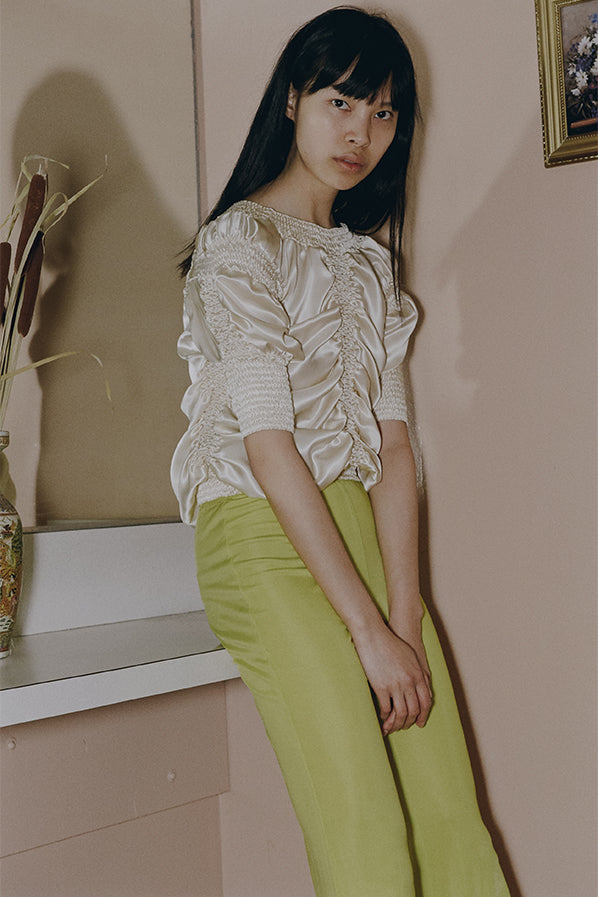 SILK RUCHED TOP, IVORY