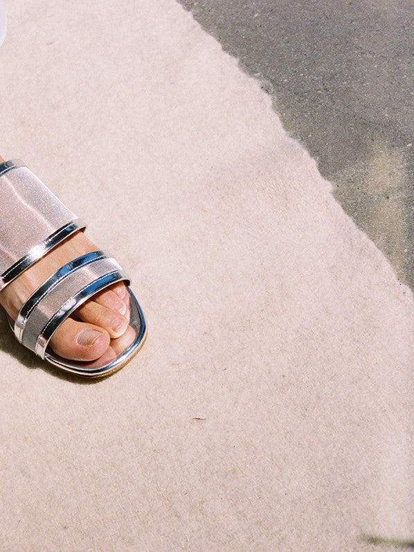 MARTINA SLIDE, SILVER METALLIC/MESH