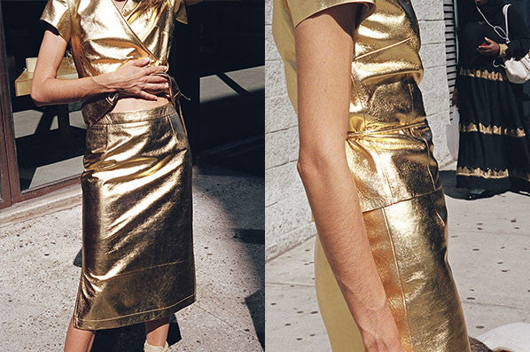 SIMONA SKIRT, GOLD LEATHER