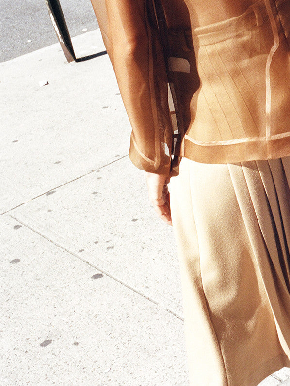 RENATA PLEATED SKIRT, CAMEL
