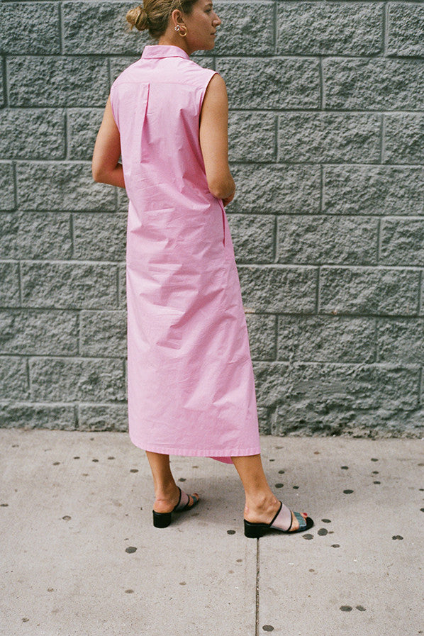 SLEEVELESS SHIRT DRESS, PINK