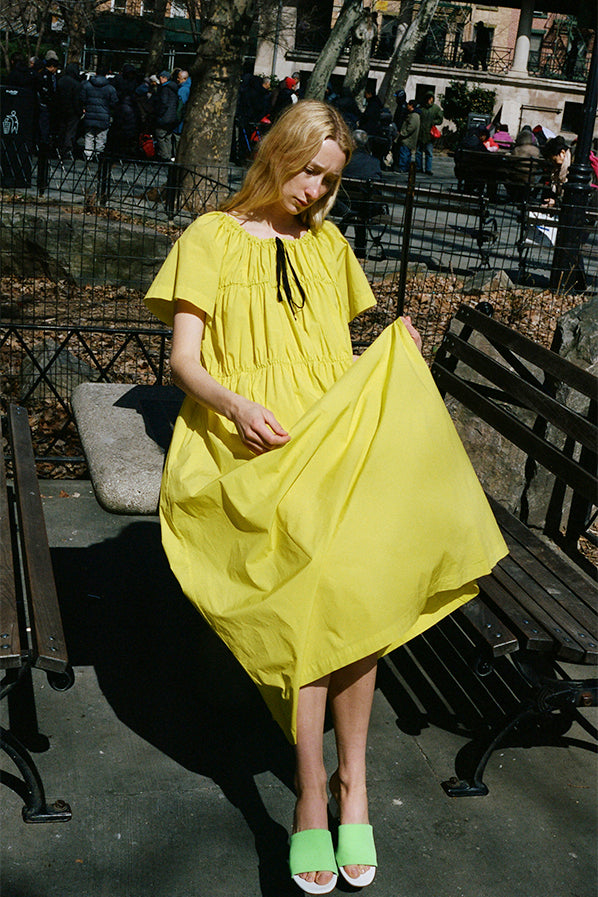 SMOCKED DRESS, CITRON