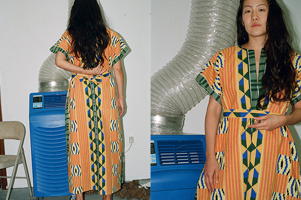 SUMMER CAFTAN, KENTE YELLOW