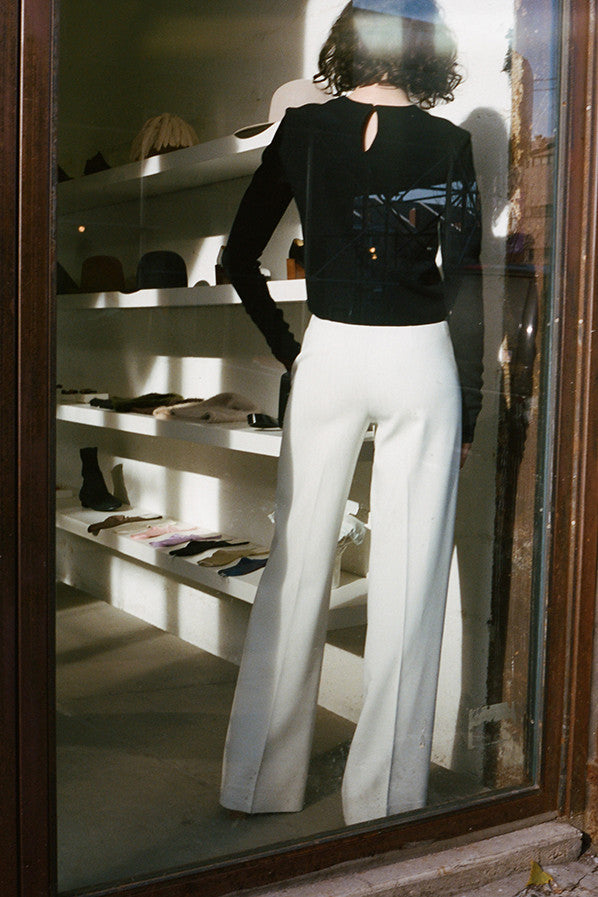 TAILORED WIDE PANTS, IVORY