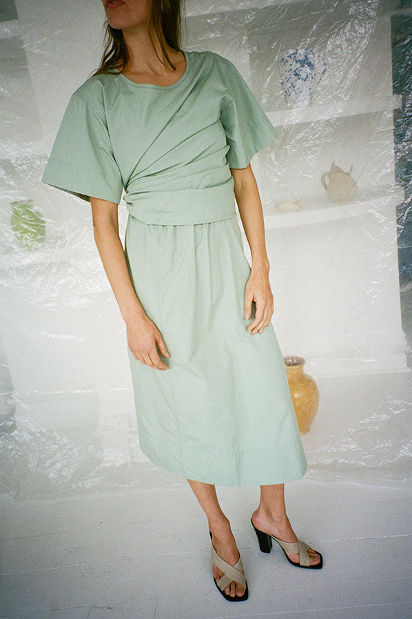TEE-SHIRT DRESS, AQUA GREY