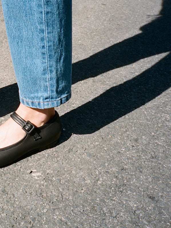 THELMA FLAT, BLACK CALF