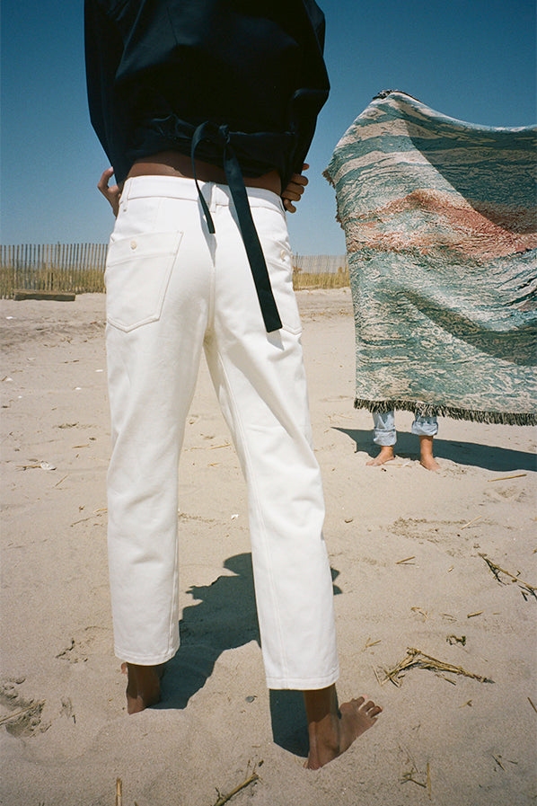 TWISTED DENIM PANTS, OFF WHITE