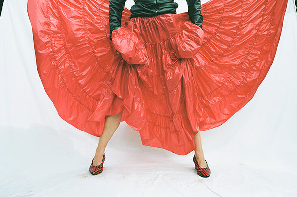 VICTORIA SKIRT, SHINY RED