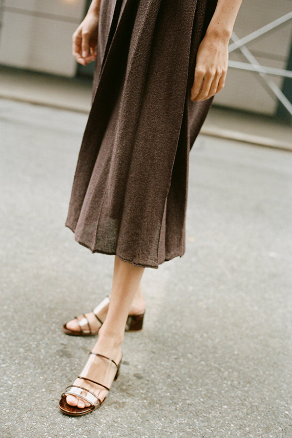 WASHI PAPER PLEATED SKIRT, BROWN