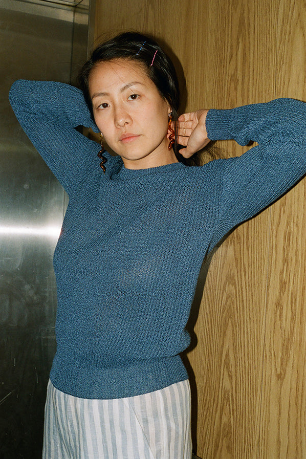 WASHI PAPER SWEATER, INDIGO BLUE