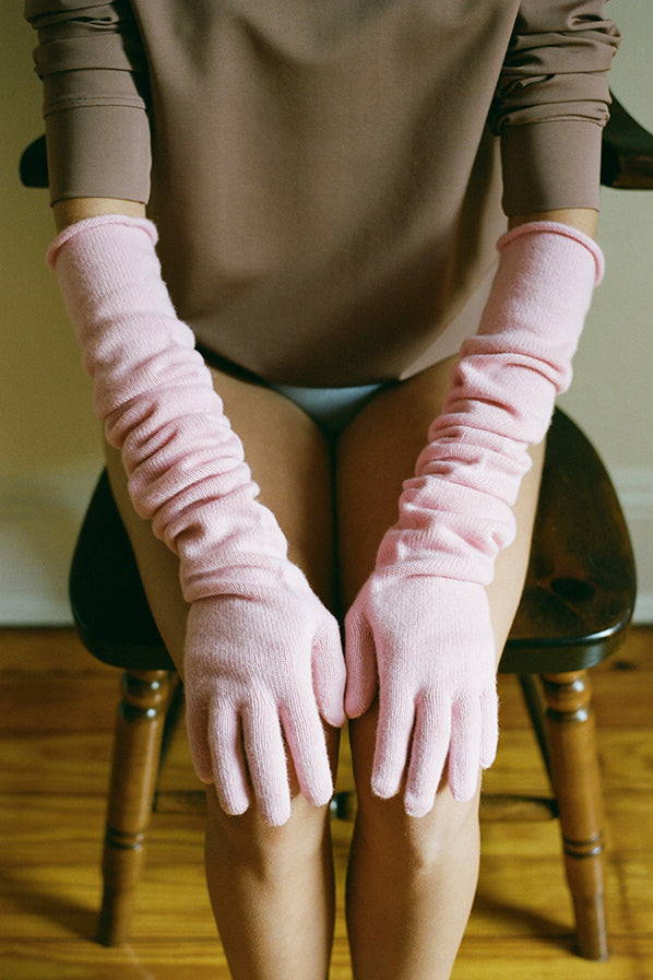 WHIT CASHMERE GLOVES, PAM PINK
