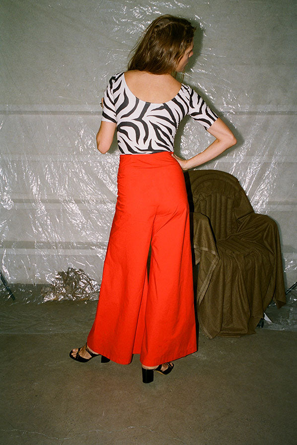 WIDE LEG PANTS, RED