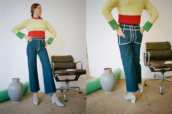 WIDE LEG JEAN, BLUE SEAM PAINTING
