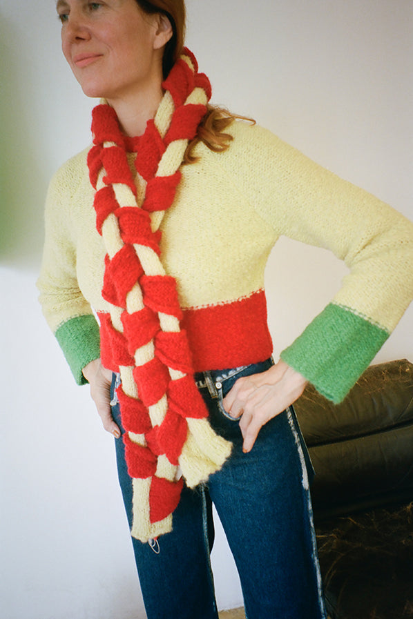 WOVEN SCARF, RED/BUTTER