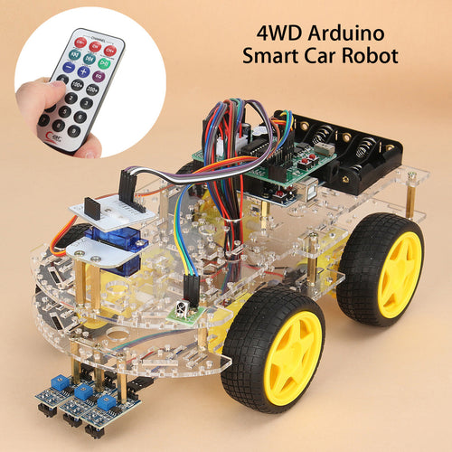 4WD Smart Robot Car Starter Kit for Arduino Bluetooth WIFI Tracking Open Source