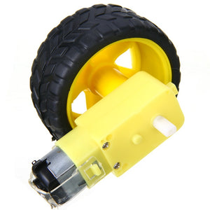 1/2 Set Smart Car Robot Plastic Tire Wheel With DC 3-6V Gear Motor Mayitr DIY Good Toughness Smart Car Chassis Kit