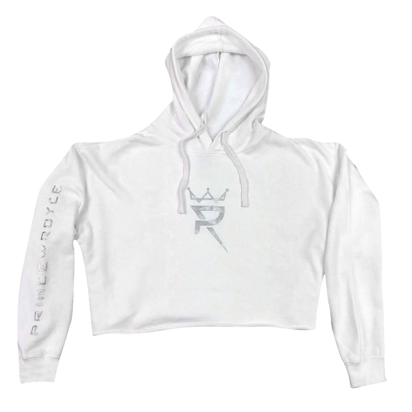 White Women's Crop Hoodie-Crown Logo