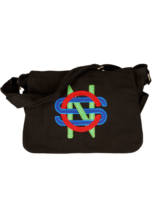 Black Messenger Bag-Initials Logo