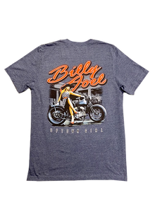 "Heather Navy SS-""Uptown Girl/ Motorcycle"""