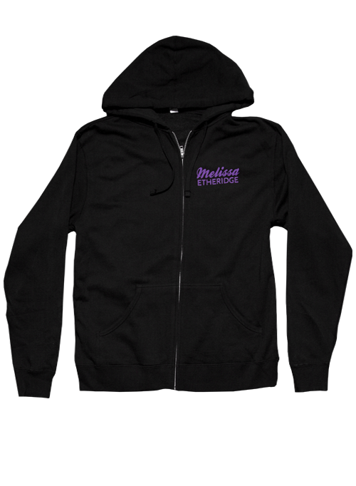 BLACK Zip Hoodie-Purple Logo Back