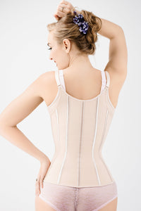Corset Story Beige Latex Underbust Corset with adjustable Bra Straps