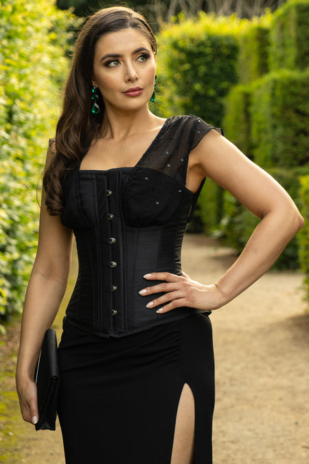 Full Shoulder Strap Black Sequin Corset Top