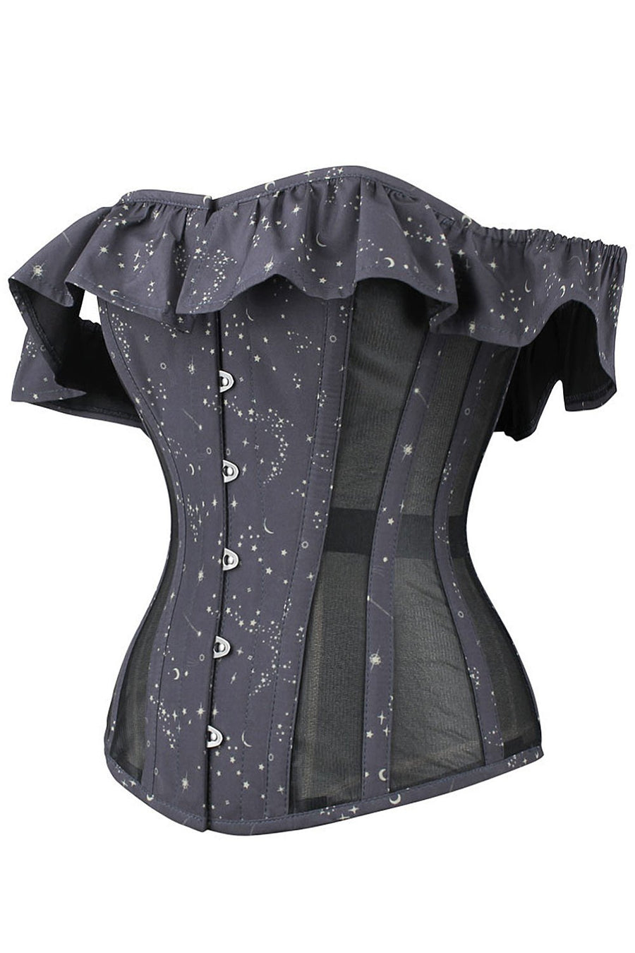 Astronomy Cotton Print Overbust With Mesh Panels And Sleeves