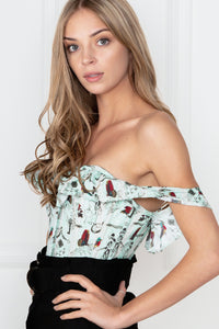 Turquoise Print Summer Corset Top