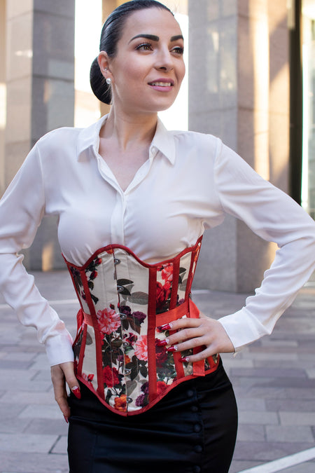 Scallop Hem Floral Fan Lacing Underbust