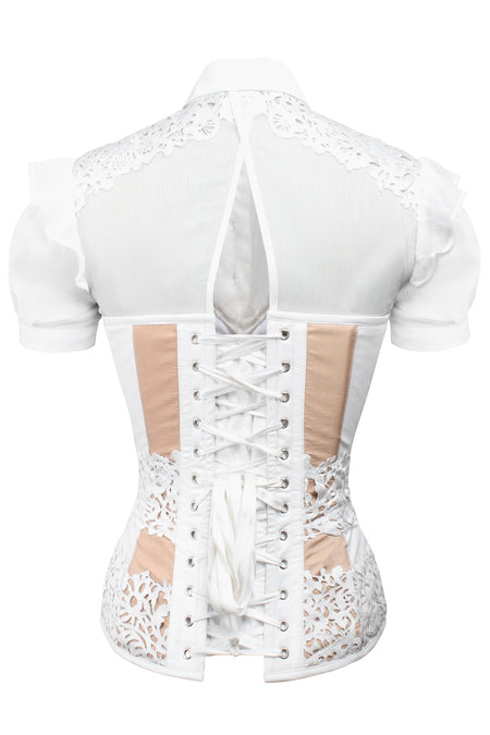 Lace Finished Short Sleeve Corseted Shirt