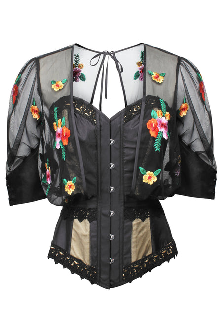 Corset with Floral Embroidery Bolero