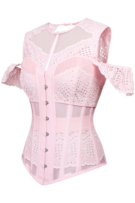 Pink Laser Cut Mesh Summer Corset Top