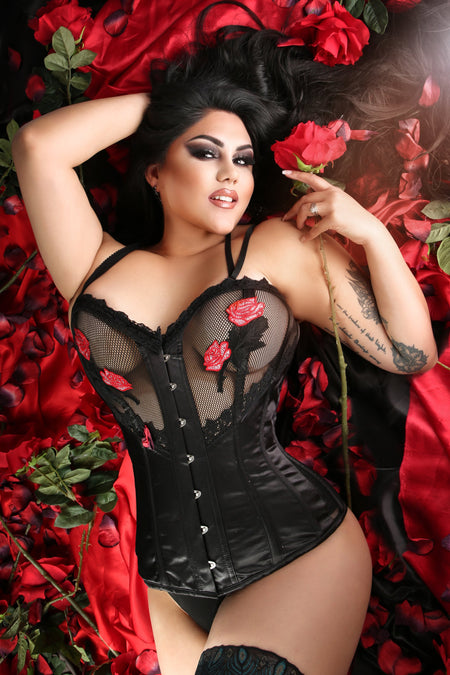 Gothic inspired Mesh and Rose Corset with Straps