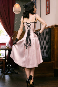 Lingerie Inspired Pearl Pink Corset With Shoulder Straps
