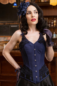 Lingerie Inspired Midnight Blue Corset With Shoulder Straps