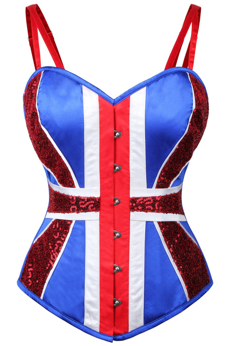 Union Jack Overbust Corset With Glitter Panels