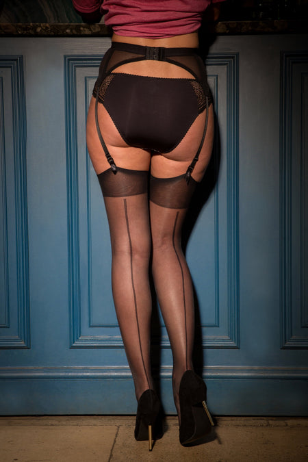 Pour Moi - Illicit Vintage 15 Denier Back Seam Stocking - Black