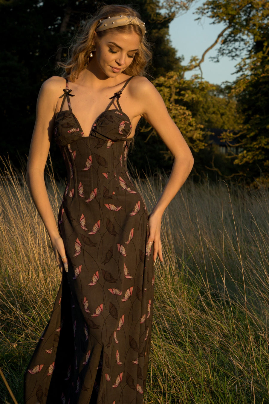 Full Steel Boned Corset Maxi Dress