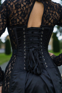 Evening Lace Overlay Corset Dress