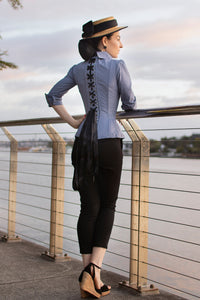 Powder Blue Corset Shirt