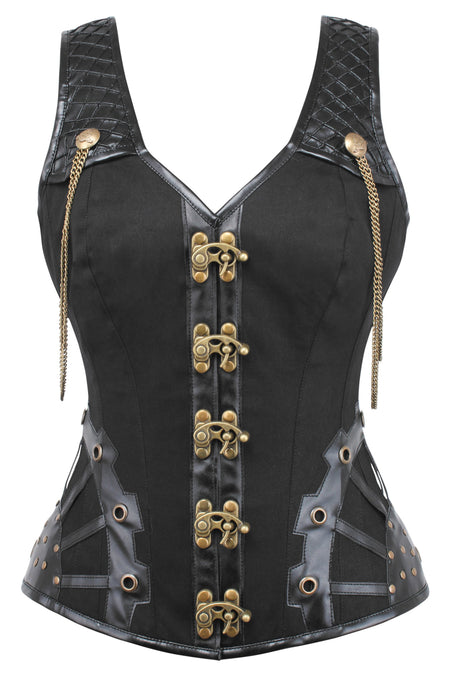 Black Steampunk Overbust with Shoulder Straps
