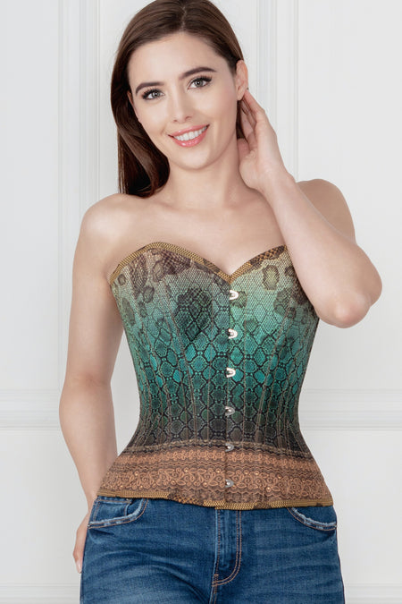 Waist Taming Snakeskin Print Overbust With Hip Gores
