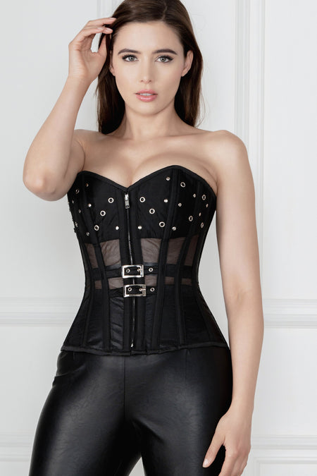 Black Mesh Corset with Front Zip