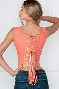 Historically Inspired 1650-1700 Coral Cotton Overbust Corset