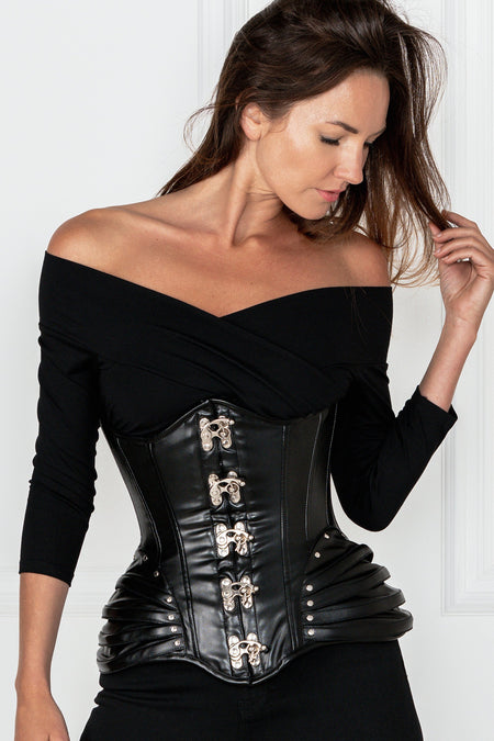 PU Black Underbust corset with Swing Hook Closure