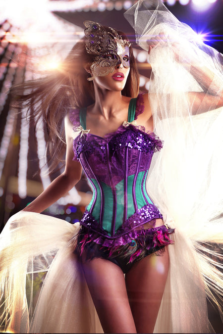 Purple & Green Joker Mardis Gras Corset