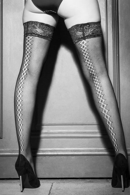 Suspense Fishnet Back Seam Stocking - Black