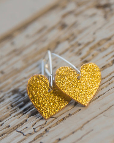 24ct Gold Leaf Drop Heart Earrings